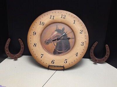 Horse Wood Rack - WOOD HORSE CLOCK with 2 COAT RACK HORSESHOES
