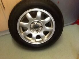 """15"""" alloy wheel and nearly new tyre"""