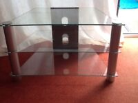 3 glass shelf tv unit. In exellent condition. Still available. No time wasters please.