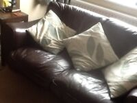2/3 seater brown leather sofa (Maskreys)