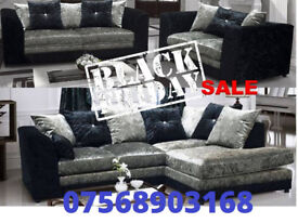 SOFA BOXING DAY CRUSH VELVET RANGE NOW IN 3+2 black and silver 16277