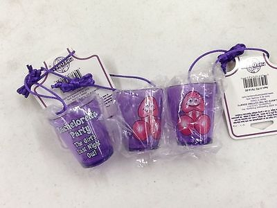 Bachelorette Purple Penis Shot Glasses Necklace Set of 3 ](Bachelorette Shot Glass Necklace)