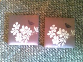 Like new 2x Beautiful silk canvas pictures of flowers and butterfly
