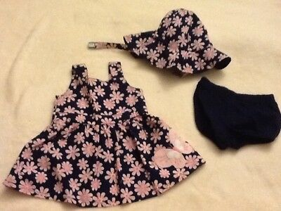 Baby Girls Carters Dress and Hat, Size 3 Months, NEW