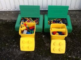 Duplo blocks and K'Nex 2 boxes each