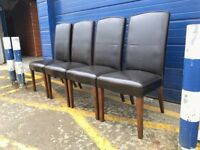 SET OF 4 ITALIAN LEATHER AND OAK DINING CHAIRS