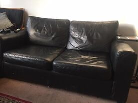Leather Sofa with pull out bed