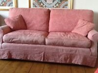 Two 3-seater sofas, shabby chic style, 190cms long, feather filled, good condition but sun faded