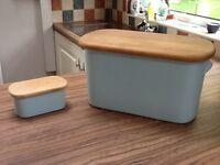 Nigella Lawson duck egg blue bread bin and matching butter dish