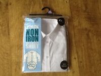 A 2 PK BOYS F&F WHITE LONG SLEEVE NON IRON SCHOOL SHIRTS AGE 12-13 YEARS - NEW STILL IN PACKET