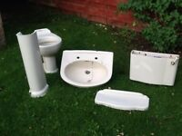 Free ivory sink, pedestal and toilet