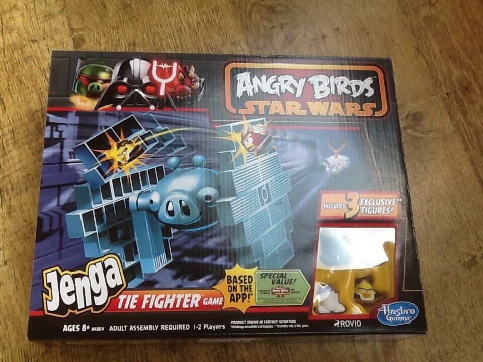 NEW & NOT OPENED ANGRY BIRDS STARWARS JENGA TIE-FIGHTER GAME AGE 8+ WITH 3 EXCLUSIVE FIGURES