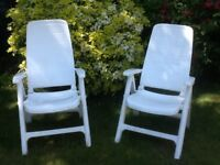Pair of garden chairs with cushions