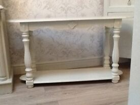 Fab French style console table.Painted and waxed in bath stone . Measures 110 by 34 by 65 cm.
