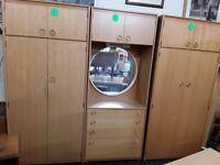 3 piece teak wardrobe set Copley Mill Low Cost Moves 2nd Hand Furniture STALYBRIDGE SK15 3DN