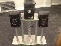 Sony compact cd system remote controlled with iPod dock and stands