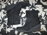 BLACK WEDGE SUEDE EFFECT BOOTS SIZE 5 BRAND NEW BY SHOE FAYRE