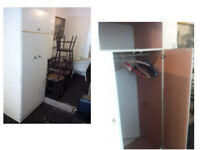 WHITE 2 DOOR WARDROBE LOTS OF SPACE ALSO WITH UP AND OVER STORAGE CUPBOARD VIEWING WELCOME