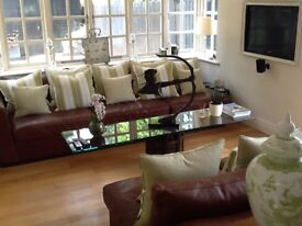 Chestnut Nubuck Leather Sofa. Five piece modular sofa including corner module and leather cushions