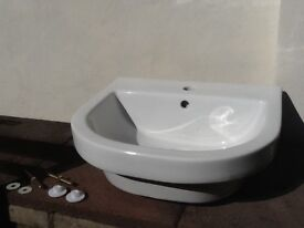 White hand basin and frame