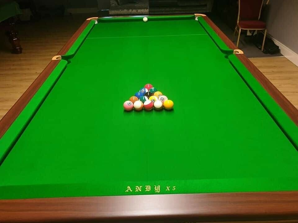 9ft Chinese 8 Ball Pool Table - Traditional Gold + Andy Cloth and Cyclop TV Balls
