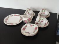 China tea sets, pink flowers on white back ground