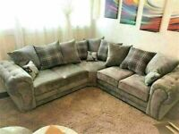 💥💯WAREHOUSE SALE VERONA GREY FABRIC CORNER SOFA SUITE / 3+2 SEATER SETTEE AVAILABLE FOR DELIVERY