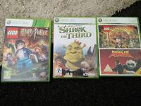 XBOX 360 GAMES, LEGO HARRY POTTER, SHREK THE THIRD, INDIANA JONES, KUNG FU PANDA
