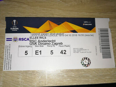 Rare TOP PERFECT Ticket : RSC Anderlecht - Dinamo Zagreb 04-10-18 Europa League