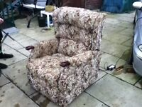 rise and recline electric chair with floral pattern