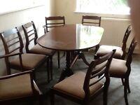 8 chair mahogany table, 2 corner display cabinets and sideboard
