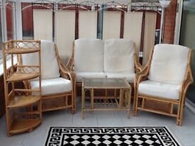 Conservatory cane furniture suite