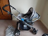 Grey and Silver 3 piece Pram set
