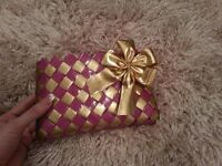 2 colors Patern Handmade Wallet Pink and Gold