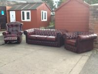 Leather chesterfield 3 piece suite 3 seater sofa 1 club chair 1 high back recliner chair can deliver