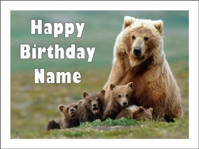 BEAR & CUBS A4 Edible Icing Birthday Cake Party Decoration Topper (Cubs Birthday Cake)