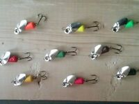 steelhead in-line spinners/egg patterns