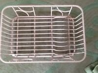 Pink metal draining dish rack. Heavy weight. Not wire.