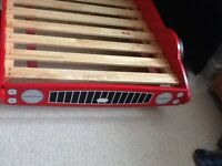 Childrens car bed. Red racing car bed. Full size single bed.