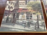 Two Prints showing French cafe scenes