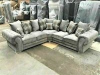 💯🎉BRAND NEW VERONA CORNER CHESTERFIELD SOFA SUITE IN GREY FABRIC OR 3+2 SET ON SALE
