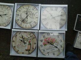 Vintage look French round or rectangular clocks