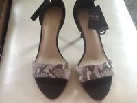 Ladies black and snakeskin effect shoes
