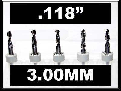 .118 - 3.00mm - 18 Shank Carbide Drill Bits Five Pcs Wood Plastic Metal Cnc R