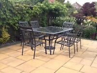 Patio metal table & 6 chairs including black parasol