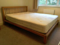 Stunning European King size solid oak bed frame from Habitat with Hypnos Mattress and 2 two bedsides