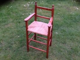 Childs wooden chair with rush seat