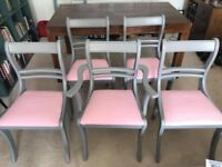 Grey Wooden Dining Chairs x 5