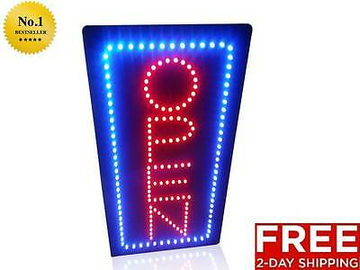 Vertical Bright Neon Light Open Sign Restaurant Business Bar Door Store Shop New