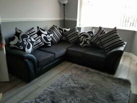 BRAND NEW SHANNON CHENILLE/LEATHER CORNER SOFA AVAILABLE IN 3+2 SOFA SET AS WELL